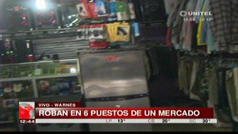 Delincuentes ingresan a robar en seis tiendas de un mercado de Warnes