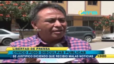 Presidente del Comité Cívico de Cochabamba pide disculpas a periodista por agredirla