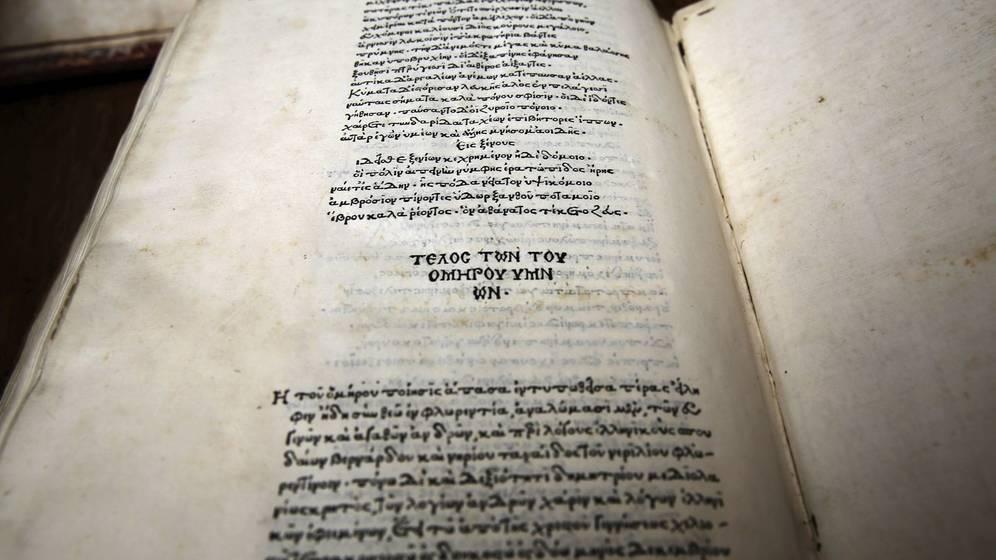 Foto: Ejemplar de la poesía de Homero de 1489. (EFE)