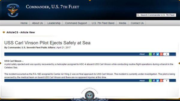 El comunicado oficial que informa el incidente con el F-18