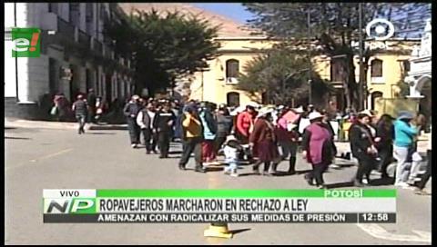 Ropavejeros de Potosí marcharon en rechazo a proyecto de ley