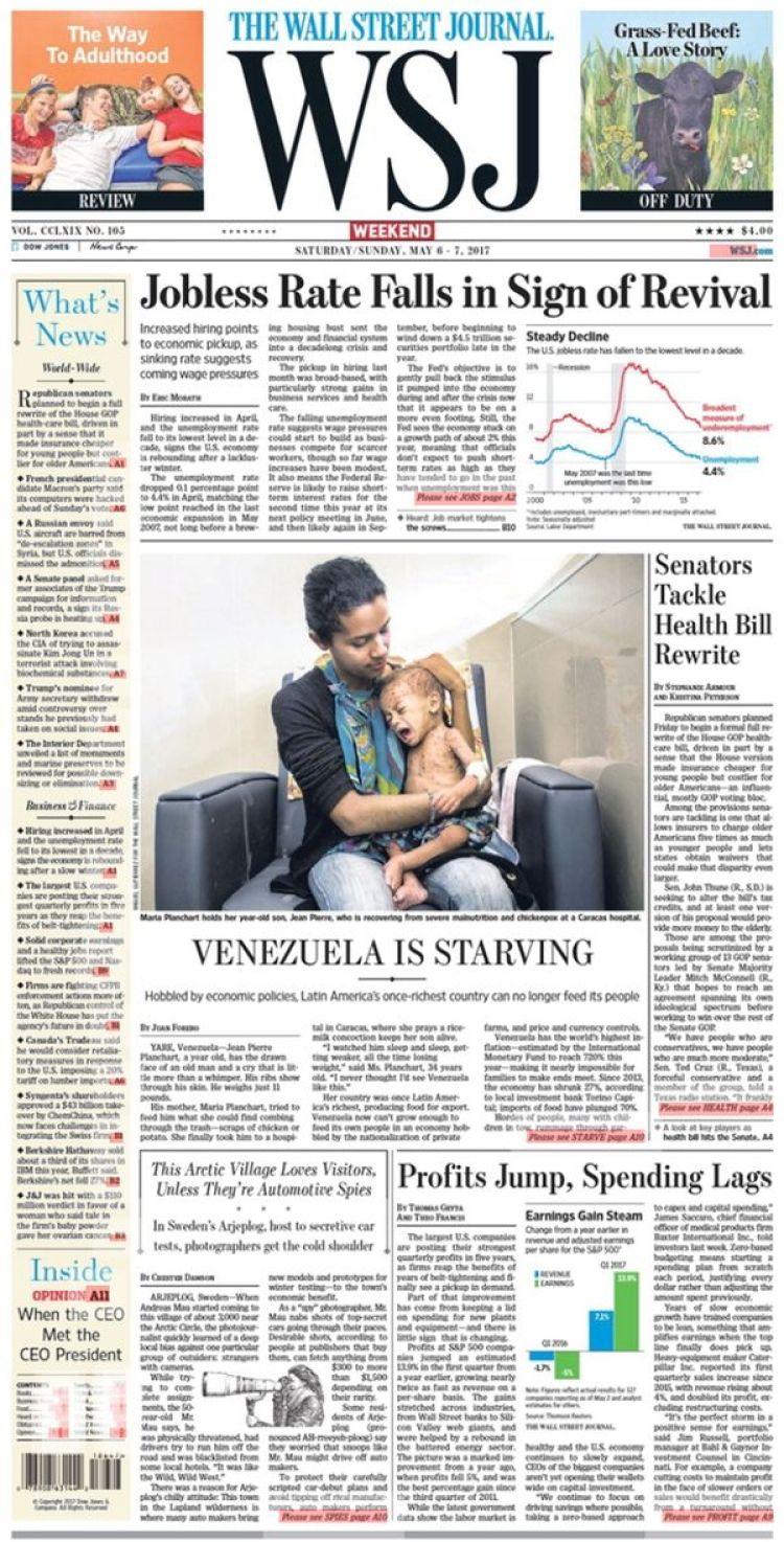 Este artículo se destacó en la tapa de la edición impresa del Wall Street Journal