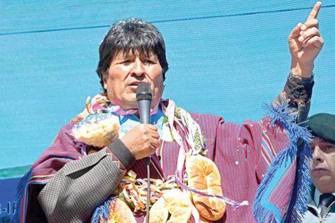 El presidente Evo Morales en un acto público en Chuquisaca.