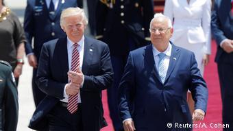 Trump se reúne primero con Rivlin, en Jerusalén. (Reuters/A. Cohen)