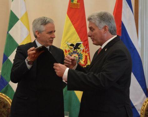 El vicepresidente de Cuba, Miguel Díaz Canel, se reunió con su par boliviano, Álvaro García Linera.