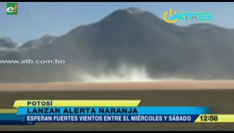 Lanzan alerta naranja por fuertes vientos en Potosí