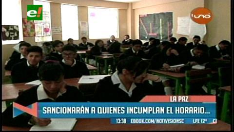 Sancionarán a colegios que no acaten el horario de invierno en La Paz y El Alto