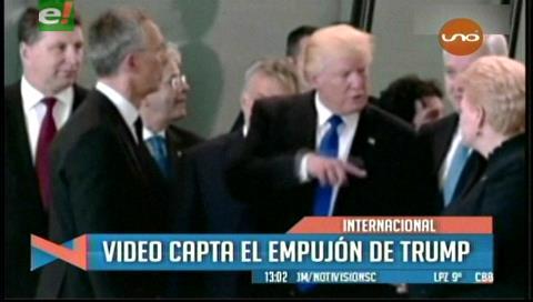 Trump empuja al primer ministro de Montenegro para hacerse hueco en la foto de la OTAN