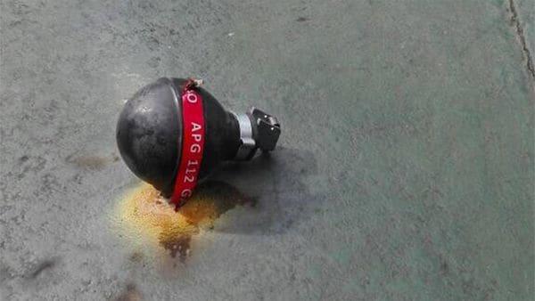 Una de las bombas que cayó en el colegio Don Bosco
