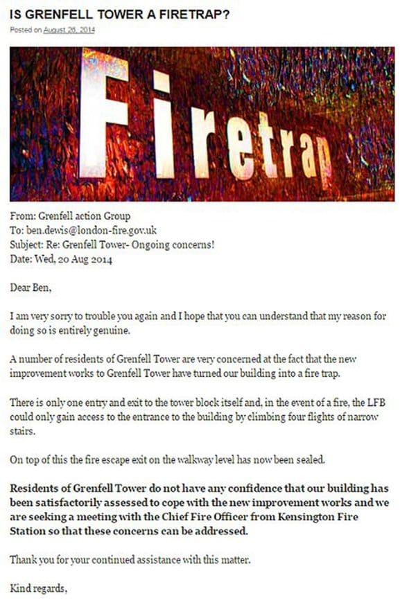 E-mail del Grupo de Accion de Grenfall, enviado en agsoto de 2014, a las autoridades responsables de la prevención de incendios