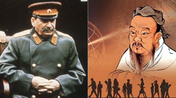 Joseph Stalin (izquierda), líder de la USSR entre 1922-1952 y Confucio (derecha), fundador de la doctrina 'confucianismo'