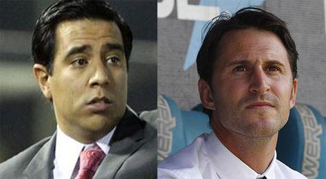 El técnico atigrado, el venezolano César Farías, y el español Beñat San José, de Bolívar