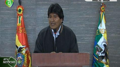 El presidente Evo Morales en conferencia de prensa en Tarija