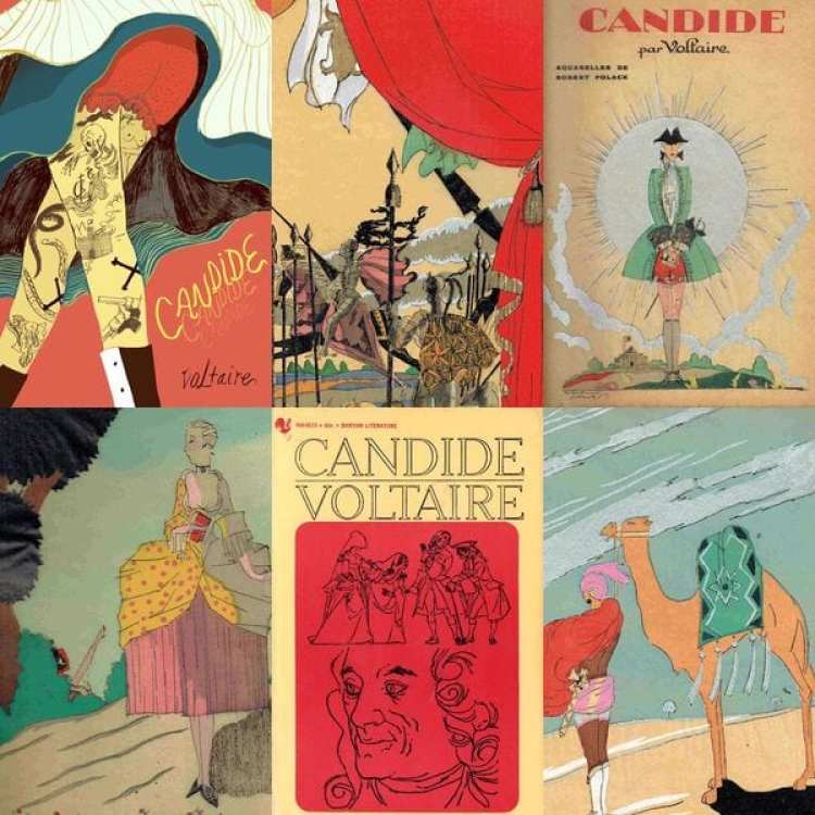 Distintas portadas e ilustraciones de Candide, la sátira publicada en 1759 que generó fascinación por su escritor y ha sido nombrado como uno de los cien libros más influyentes de la historia