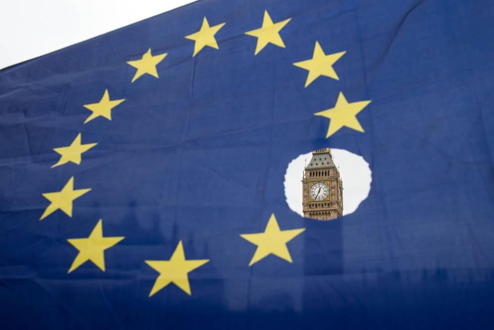 Una bandera en una protesta contra el Brexit el 29 de marzo en Londres.