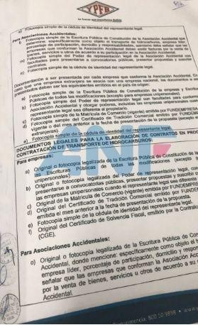 Documentos que supuestamente involucran a la hermana de Arce en el caso taladros. (Imagen de ANF)