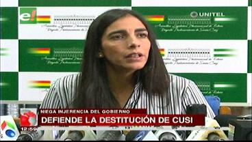 """Montaño defiende destitución de Cusi: """"Lo procesó el Órgano Legislativo, no Evo Morales"""""""