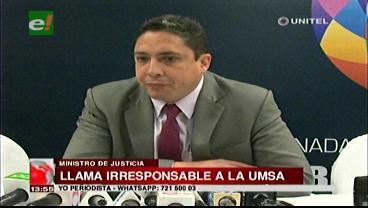 Ministro de Justicia califica de irracional retiro de la UMSA del proceso de preselección judicial