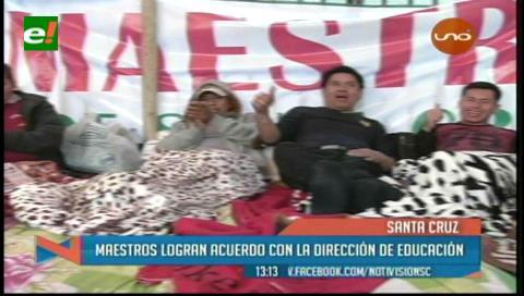 Santa Cruz: Maestros logran acuerdos y levantan huelga de hambre