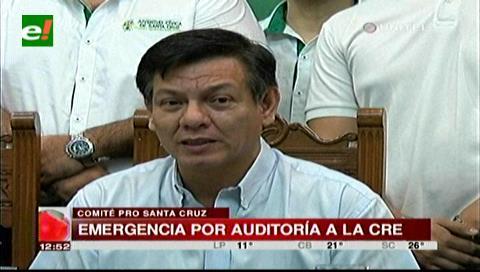 Cívicos cruceños en emergencia por auditoría del Gobierno a la CRE