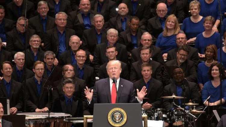 Donald Trump durante la Celebración del Encuentro por la Libertad, en Washington (AFP)