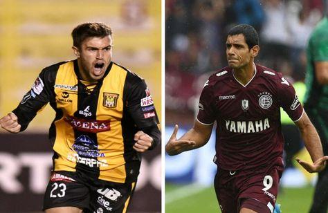 Matías Alonso (izq.) y José Sand, arietes de The Strongest y Lanús respectivamente.