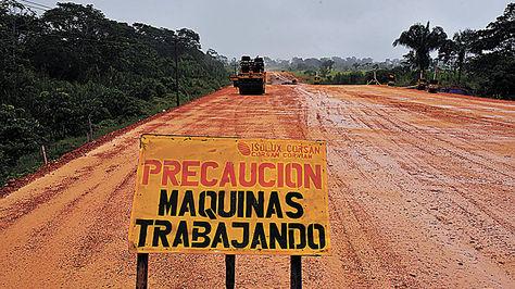 Obra Tramo en construcción de la vía Ixiamas-San Buenaventura.