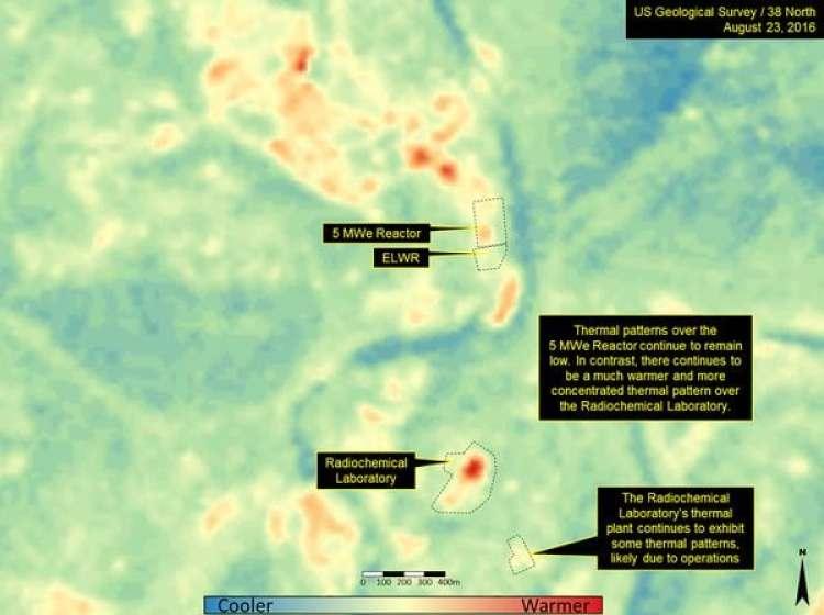 Imagen térmica del laboratorio radioquímico en Yongbyon.