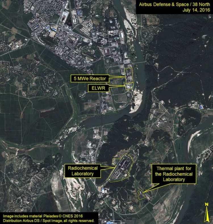 Imagen satelital de la planta nuclear Yongbyon de Corea del Norte