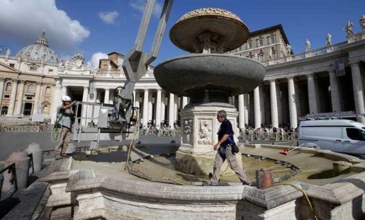 La Plaza San Pedro, sin agua (Reuters)