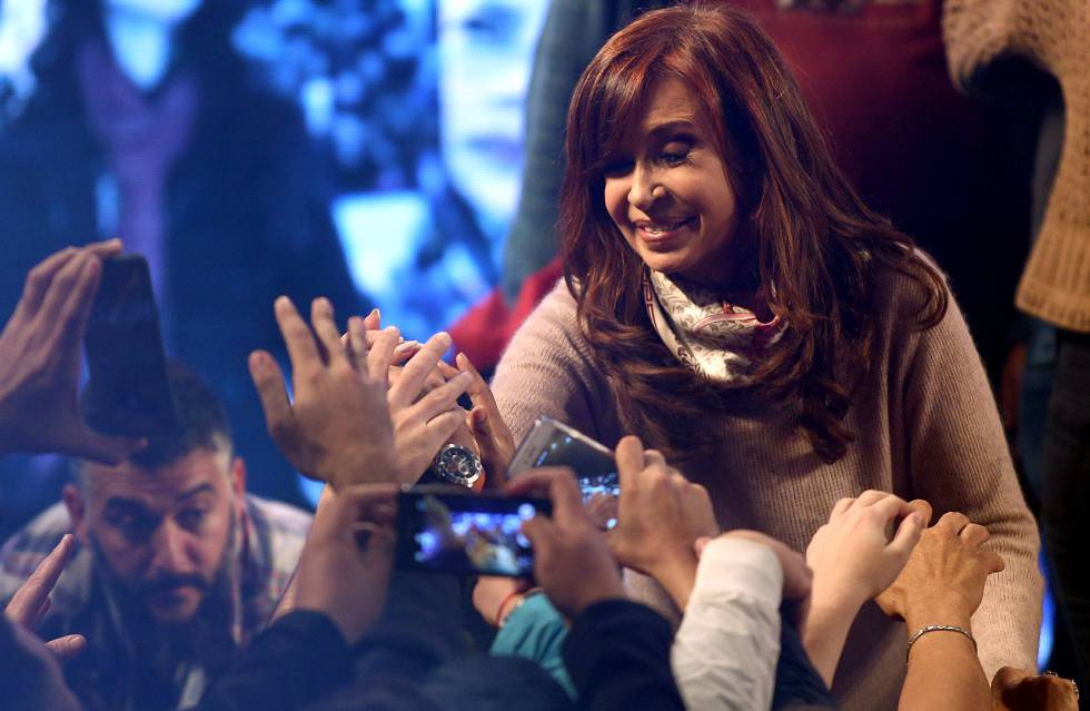 Cristina Fernandez de Kirchner, former Argentine President and candidate for the Senate in the mid-term primary elections, greets supporters at her campaign headquarters in Buenos Aires, Argentina early August 14, 2017.  REUTERSMarcos Brindicci