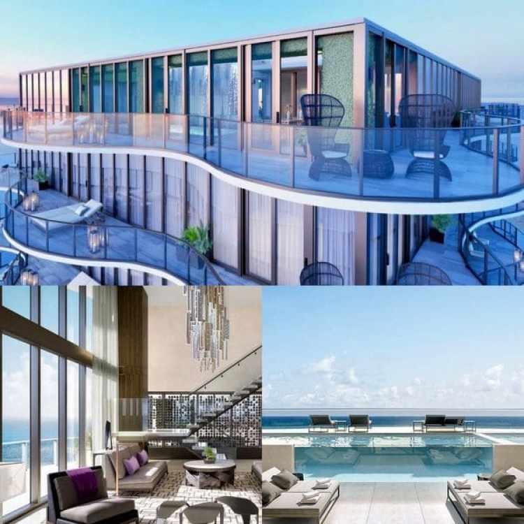 Más de 550 metros cuadrados de terrazas privadas incluyen piscina y cascada propia a 46 pisos de altura