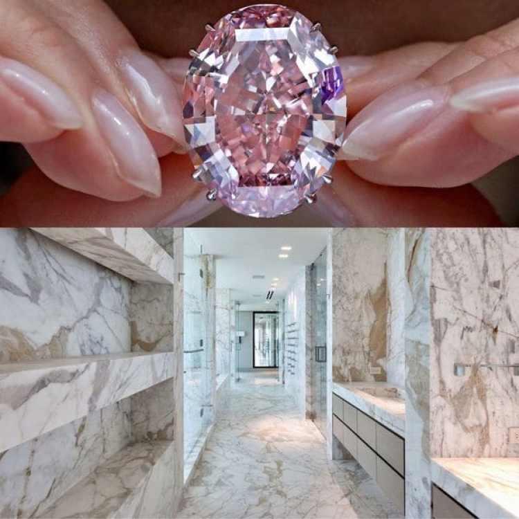 El diamante rosa ofrecido con el penthouse de Regalia (foto no ilustrativa) tendrá un corte y tamaño a definirse al momento del cierre de la venta. Debajo, el baño principal elaborado enteramente en mármol de Carrara