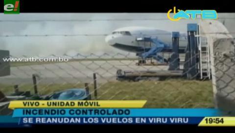 Controlan incendio cerca del aeropuerto Viru Viru