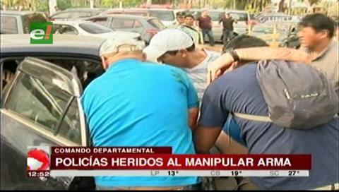 Dos policías heridos por presunta mala manipulación de arma