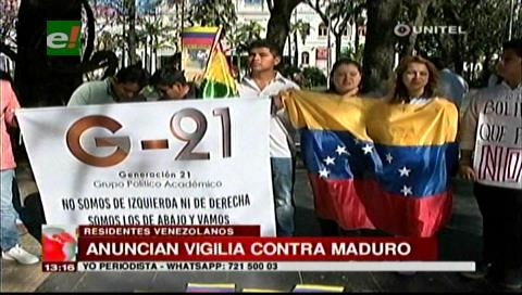 Venezolanos en Santa Cruz harán vigilia contra del presidente Maduro