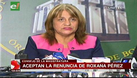 Consejo de la Magistratura acepta la renuncia de Roxana Pérez