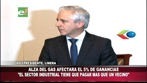 """García Linera justifica alza del gas: """"Industriales no pueden pagar menos que las familias"""""""