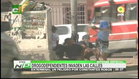 Delincuencia en la ciudad: Drogodependientes invaden calles cruceñas