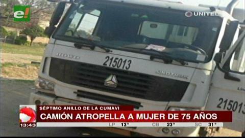 Santa Cruz: Camión de aseo urbano atropella a una anciana