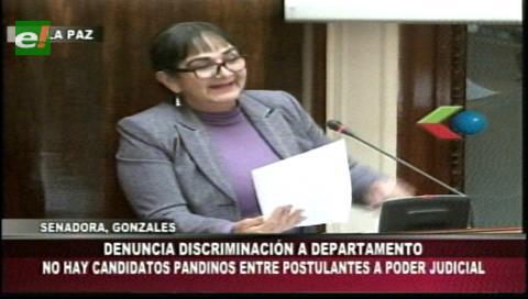Elecciones judiciales: Senadora Gonzáles denuncia discriminación, no hay candidatos pandinos