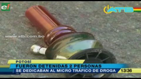 Detienen a dos personas que se dedicaban al microtráfico de drogas en Potosí
