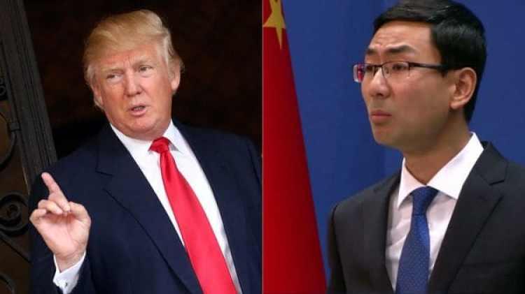 El portavoz de el ministerio de Exteriores chino, Geng Shuang, y Donald trump