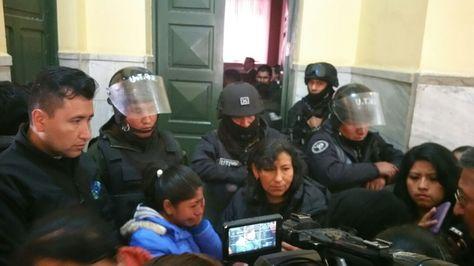 La audiencia de medidas cautelares del grupo de los ocho agresores de la muertes de Édgar Moya. Foto: Angel Guarachi