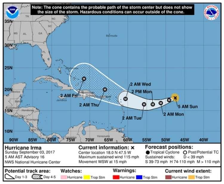 Pronóstico del Huracán Irma. Boletín de las 5 am – domingo 3