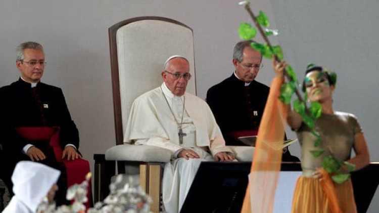 El popa Francisco participó de un Encuentro de Reconciliación Nacional en el parque 'Las Malocas', en Villavicencio, Colombia (REUTERS/Federico Rios)