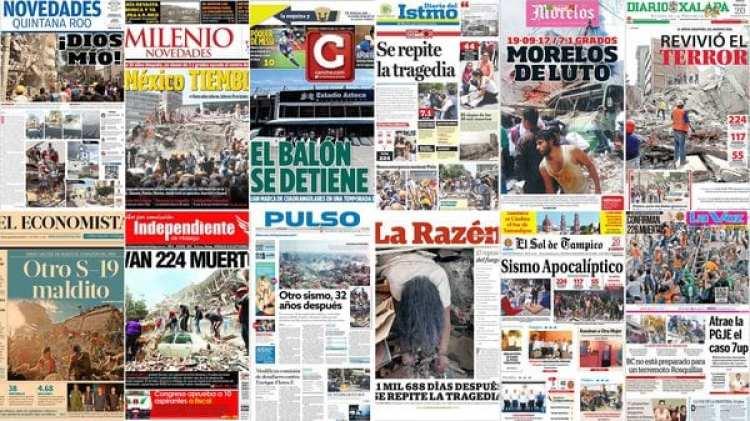 Las portadas de los periódicos de México tras el terremoto que sacudió al país