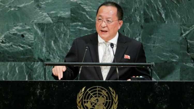 El canciller Ri, durante su discurso en la ONU