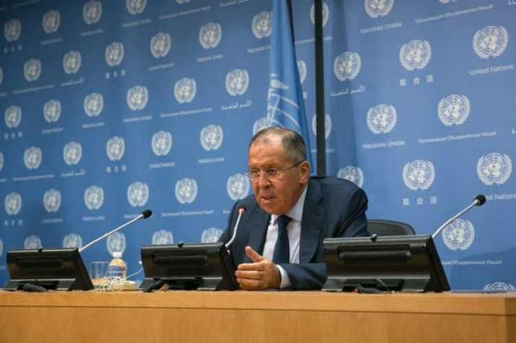 El ministro de Exteriores ruso, Serguei Lavrov, en una conferencia en laONU (AFP)