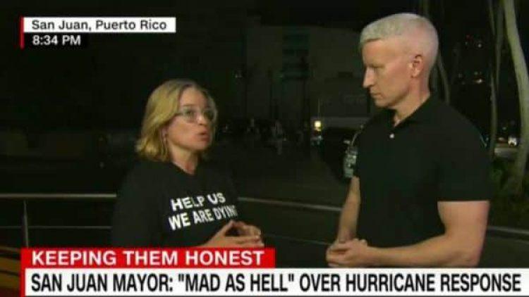 La alcaldesa durante una entrevista con el periodista de CNN Anderson Cooper.